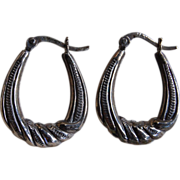 Vintage Sterling Silver Etched Hoop Earrings