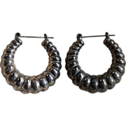 Vintage Silver Ethnic Hollow Hoops