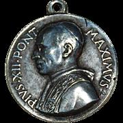 Vintage Pope Pius XII Religious Pendant Cathoilc Medal