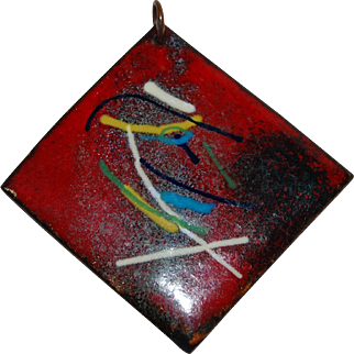 Vintage Modern Enameled Pendant with Abstract Design