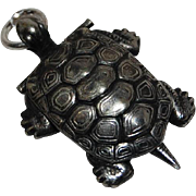 Vintage Silver Feng shui Compass Tiny Turtle Charm Pendant Japan