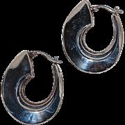 """Vintage Sterling Silver Hollow Hoop Earring Modern """"fishhook"""""""