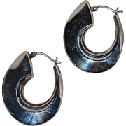 "Vintage Sterling Silver Hollow Hoop Earring Modern ""fishhook"""