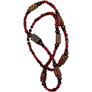 African Bead Necklace Shades of Red