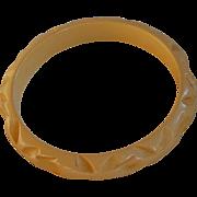 Carved Dark Cream Bakelite Bracelet Bangle