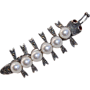 Vintage Articulated Caterpillar Brooch Pin Sterling Pearl Marcasite and Garnet