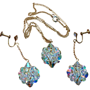 Aurora Borealis Czech Rhinestone Bead Round Cluster Necklace and Dangle Earring Set