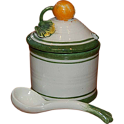 Italian Majolica Covered Jam or Mustard Jar w/ Spoon