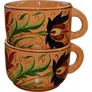2 Balatonfured Hungary Hand Painted Cups 1971