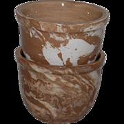Unusual Marbled Stoneware Custard Cups