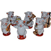 6 Piece Pig Band Figurines with Conductor Japan
