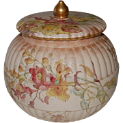 English Doulton Burslem Hand Painted Biscuit Jar