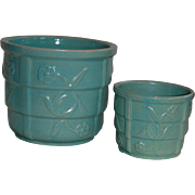 Two Mid Modern Aqua Green Jardiniere Flower Pots
