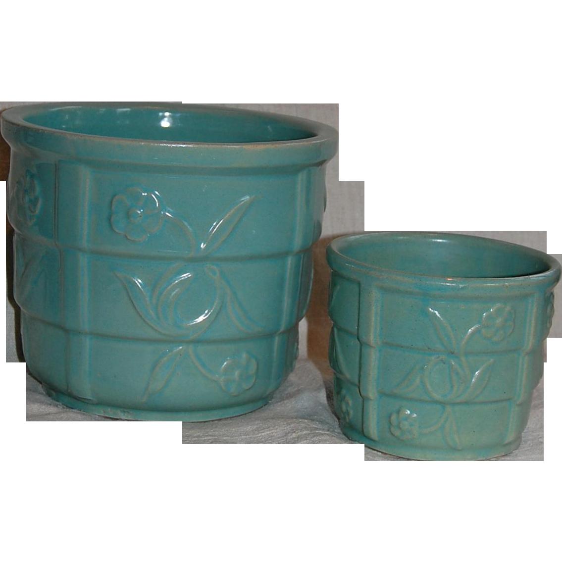 Two mid modern aqua green jardiniere flower pots from Modern plant pots