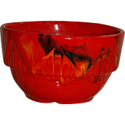 California Pottery Red Drip Glaze Bowl