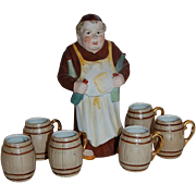 Friar Decanter German Porcelain with Shot Barrel Mugs