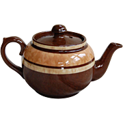 Sudlow's Burslem Tiny Brown Betty Teapot with Sponge Decoration