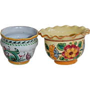 Two Small Vintage Italian Majolica Flower Pot Planters