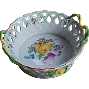 Carl Thieme Dresden Flower Small Reticulated Basket