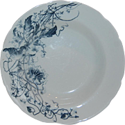 Turner's Tunstall England Blue Transferware Lotus  Soup Plate - Red Tag Sale Item
