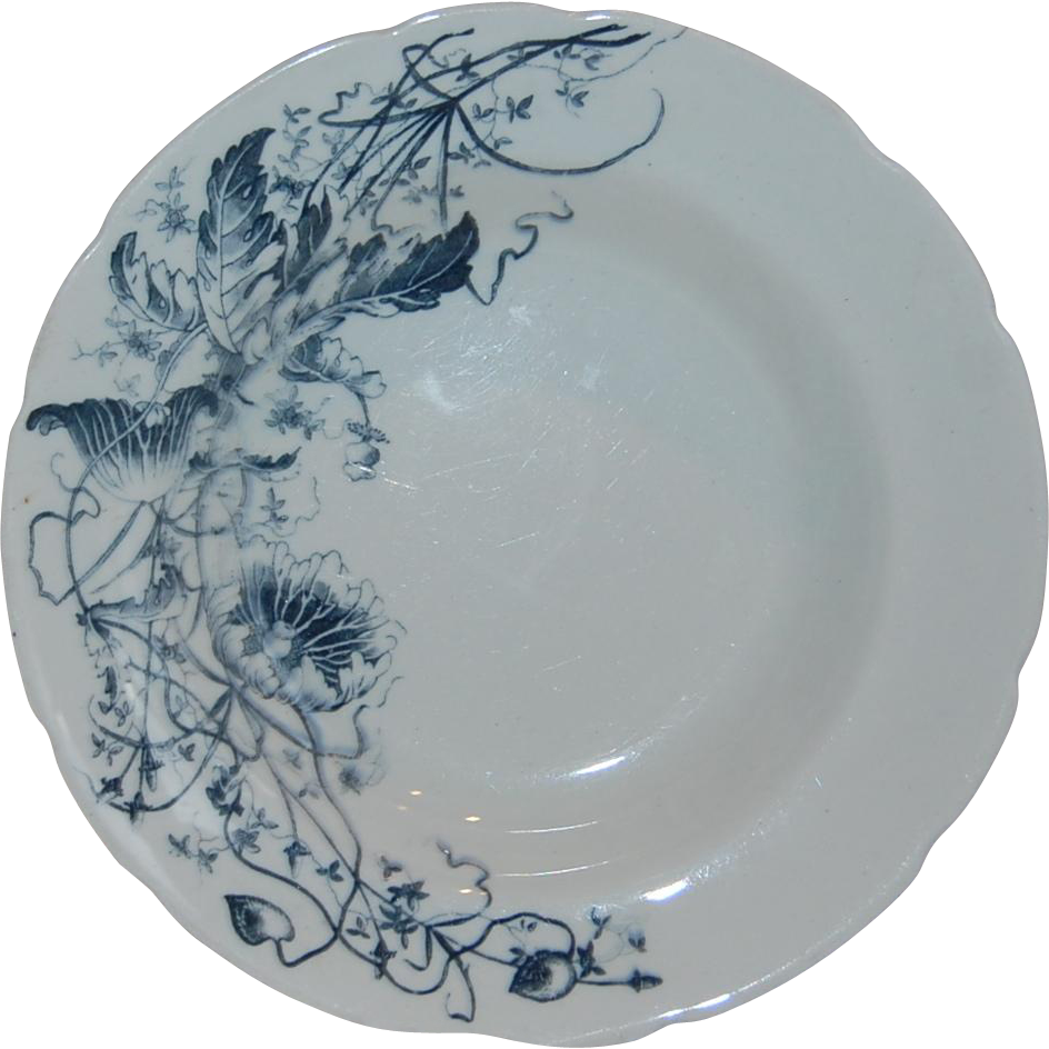 Turner 39 s tunstall england blue transferware lotus soup for S furniture tunstall