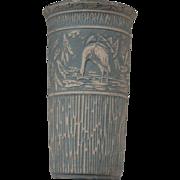 Redwing Union Stoneware Green Brush Bird Vase