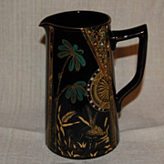 Victorian Aesthetic Black Amethyst Pitcher w/ Paint and Enamel Decorations