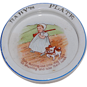 Unusual Dog and Baby with Rifle Infant Feeding Dish