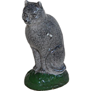 Primitive Small Grey Cat Figurine