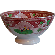 Red Transferware Quail Bowl PV Portieux Large