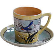 Tiny Vintage Bluebird Luster Cup and Saucer Japan