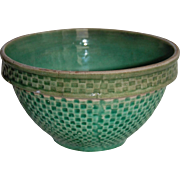 Old Green Glaze Pottery Kitchen Mixing Bowl