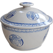 Oriental Rice Bowl and Cover with Blue Cranes