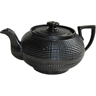 19c Baslat Black Incised Stoneware Teapot James M Shaw