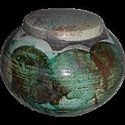 Vintage Stoneware Covered Globe Urn Jar