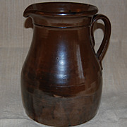 Gorgeous Antique Brown Slip Stoneware Pitcher