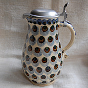 Signed German Pitcher w/ Pewter  Lid Peacock Feather Pattern