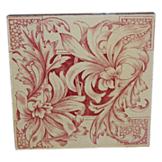 Red Transferware Decorative Wall Tile England