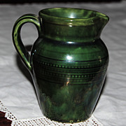 English Creamer Pitcher with Dark Green Glaze