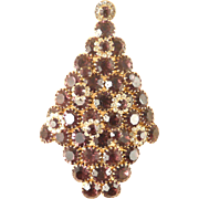 Christmas Tree Pin Attruia Original Huge Fabulous Amethyst Color Stones in Goldtone