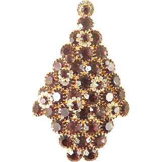 Christmas Tree Pin Attruia Original Huge Fabulous Amethyst Color Stones in Goldtone