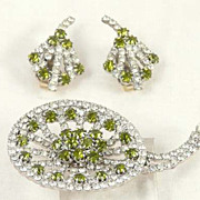 Hobe Rhinestone Stylized Flower Set Elegant Unusual Vintage