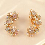 Sparkling Vintage Kramer Aurora Borealis Rhinestone Earrings