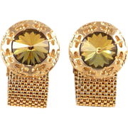 Mesh Wrap Cufflinks Large Rivoli Crystal Stones Phenomenal
