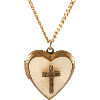 Heart Locket with Cross Vintage Mother of Pearl Goldtone 1940s - 50s