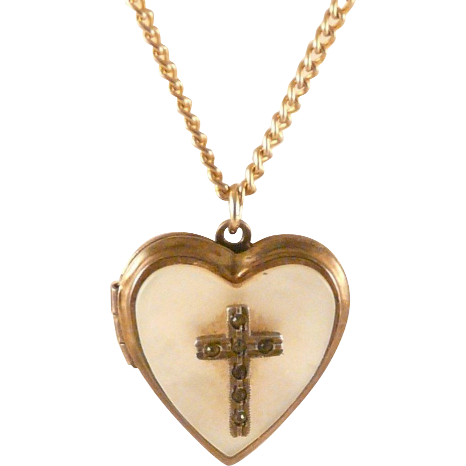 Heart Locket With Cross Vintage Mother Of Pearl Goldtone 1940s  50s