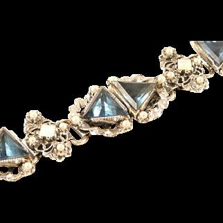 Chunky Bracelet Blue and Opalescent Stones Statement Piece Silvertone Vintage