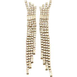 """Rhinestone Earrings Fringed Shoulder Duster Dangle 4"""" Silvertone Pierced"""