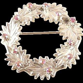 Dodds Christmas Holly Wreath Pin Brooch Silvertone Pink AB Rhinestone Berries Vintage