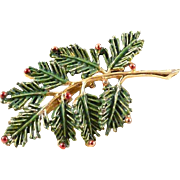 Gerrys Pine Branch Christmas Pin Brooch Green with Red Ball Decorations Vintage